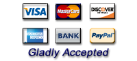 We accept most major credit cards and Paypal